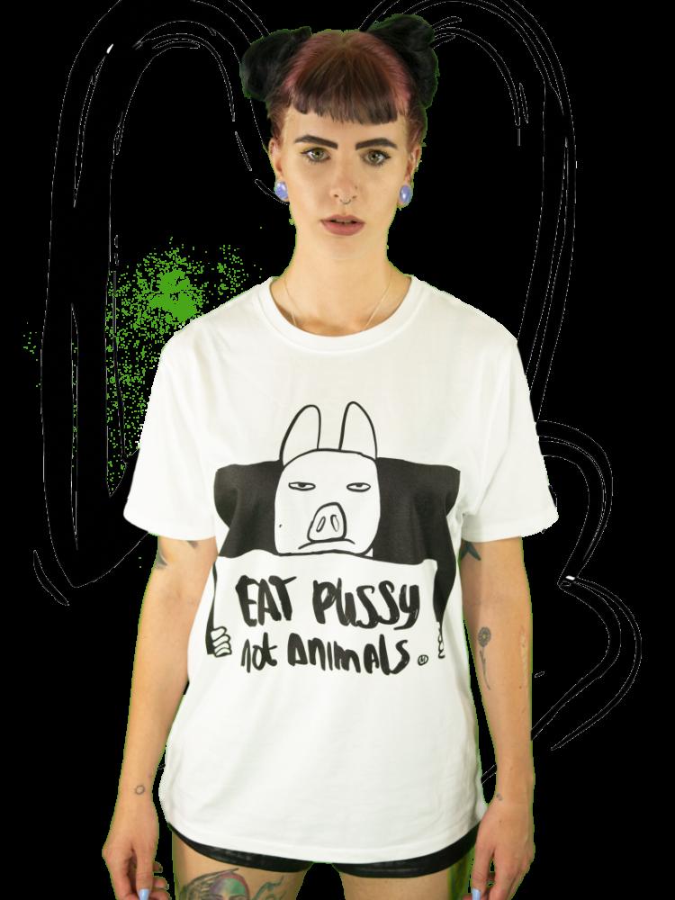 T-shirt Eat pussy not animals WHITE