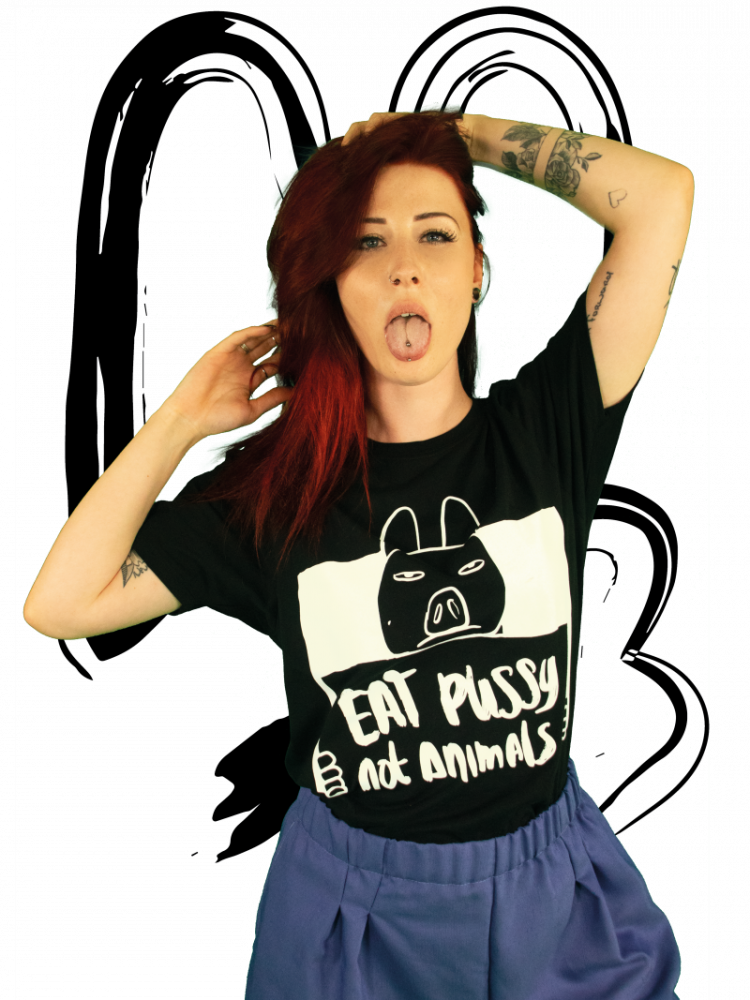 T-shirt Eat pussy not animals BLACK