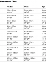 size chart dungarees